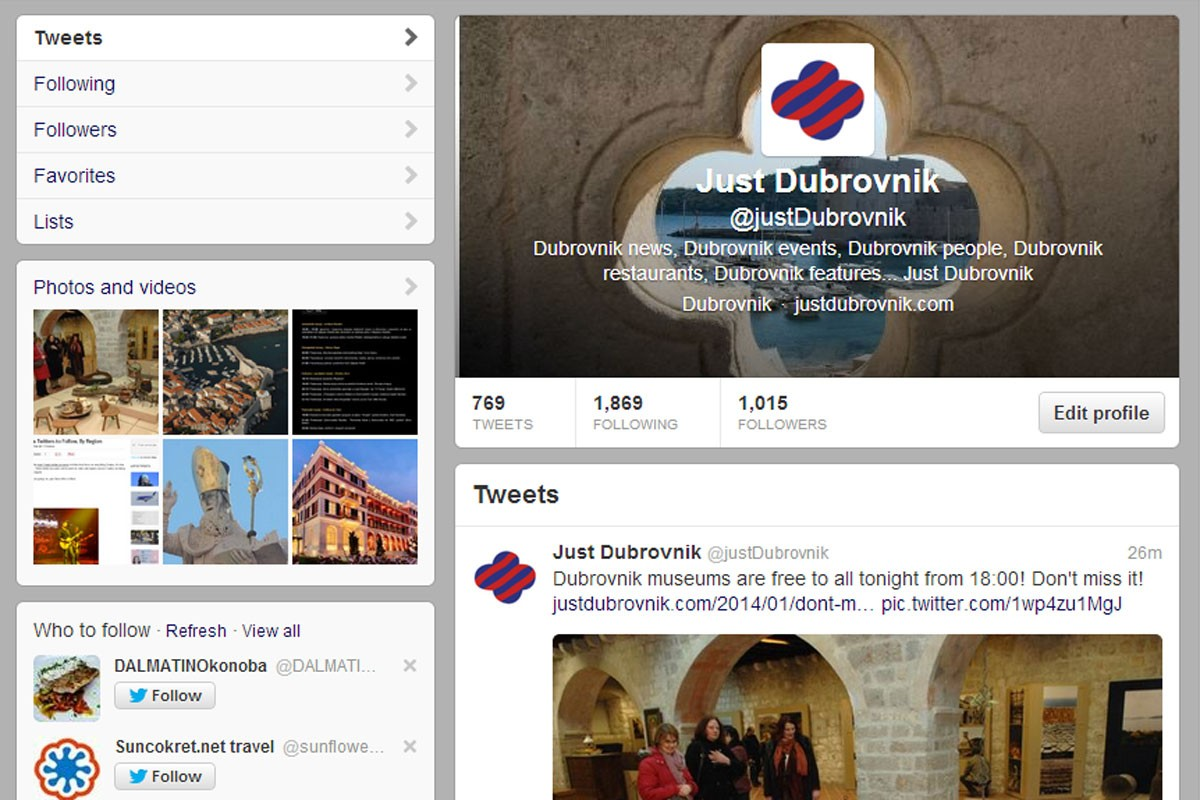 Photo of Just Dubrovnik Named Top Twitter Account