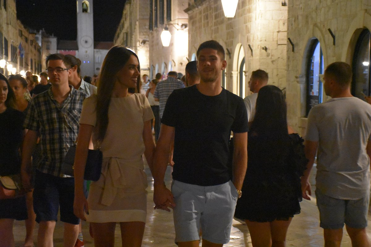 Photo of Andrej Kramarić and His Beautiful Girlfriend Mija on Stradun
